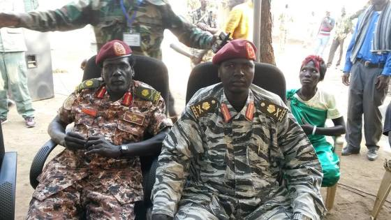Maj. Gen. Gabriel Duop Lam, the former Minister of Law in Jonglei State and the current military governor of Phou State, sitting next to Maj. Gen. Peter Gatdet Yakah, the former Military Governor of Unity State and the current Deputy Chief of Staff for Operation in Pagak, South Sudan(Photo: Nyamilepedia)
