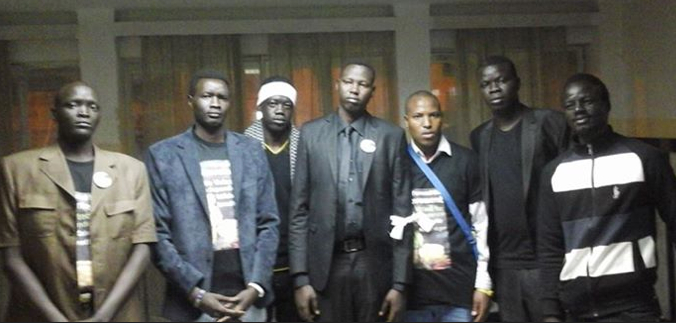 Sirir Gabriel at the centre; South Sudanese in Cairo, Egypt, commemorate the genocide carried out in Juba(Photo: Sirir)