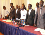 Members of the ''Congress of South Sudanese Patriots'' at press briefing held at Six Eighty Hotel, Nairobi on 26th December 2013(Photo: Eligo/Nyamilepedia)