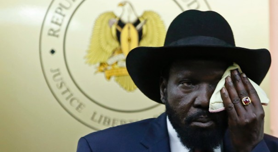 South Sudan president, Salva Kiir Mayardit, wiping his face(Photo: file)