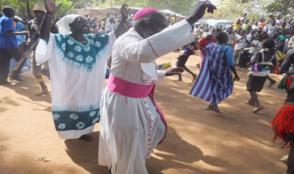 Emeritus, Bishop Paride Taban took to the dancing floor(Photo credits: pentecosta/Nyamilepedia)