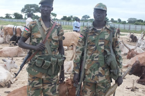 SPLA soldiers posting in a cattle camp in Bor(PhotoL file)