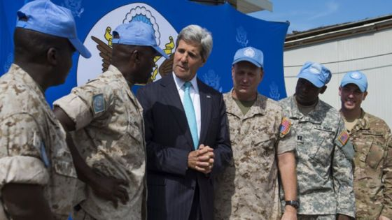 U.S. Secretary of State John Kerry speaks with members of the U.S. military working with the United Nations at the United Nations Mission in South Sudan...