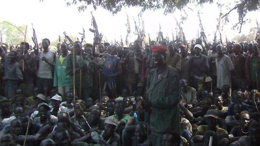 Armed Lou Nuer men in Likwangale listen to South Sudan's Vice-President Riek Machar - 28 December 2011