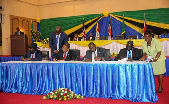 South Sudanese leaders in Arusha Tanzania, signing SPLM Reunification document(photo: file)