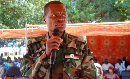 Western Equatoria State Governor Bangasi Joseph Bakosoro addressing the 29th SPLA anniversary celebrations in Yambio. [Photo: Joseph Nashion/Nyamilepedia]
