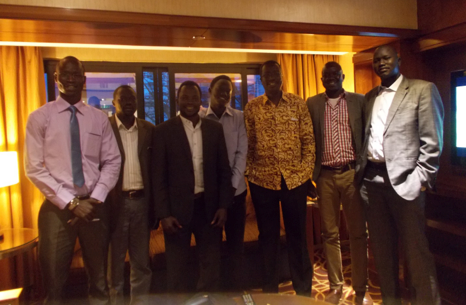 South Sudanese Students in Kenya took a gruop photo with Minister of Higher Education Dr John Gai 2014