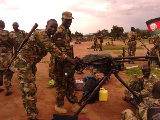 SPLA-IO checking the captured weapons in their camps in Upper Nile state