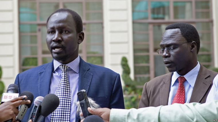 Former SPLM/SPLA-IO military spokesman Brig. Lul Ruai Koang and James Gatdet Dak, the spokesperson to Dr. Riek Machar(Photo: file)