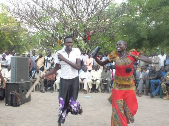 Women dancing in celebration for the release of Isaiah Chol Aruai and two other officials after landing in Opposition controlled territory with prior permision(Photo: supplied/Nyamilepedia)