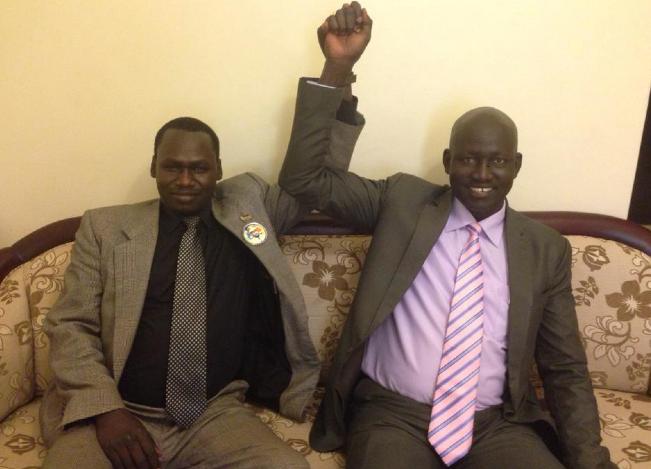 Lul Ruai Koang celebrating with Gordon Buay, a Salva Kiir loyalist in Juba, South Sudan(Photo: supplied)