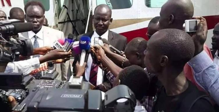 Lul Ruai Koang received by David Yau Yau, the leader of defected militia, in Juba, South Sudan today on 19 Feb, 2015(Photo: supplied)