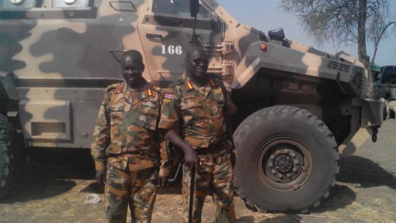 Brig. Gen. John Mabieh (Left), Deputy field commander for Administration, Brig. Gen. Thomas Tut Riek (Right), deputy field commander for operation. (Photo: