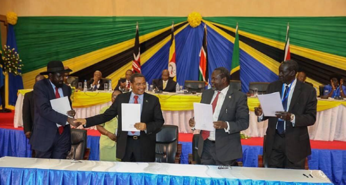 The SPLM leaders signing the Intra-Party Agreement to reunite the SPLM in Arusha, Tanzania(Photo: SPLM/Nyamilepedia)