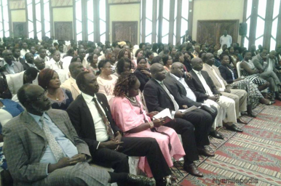 Members of SPLM/SPLA during a Public Briefing on Arusha Intra-SPLM/SPLA Re-Unification at Safari Park Hotel, January, Nairobi, Kenya(Photo: Nyamilepedia)