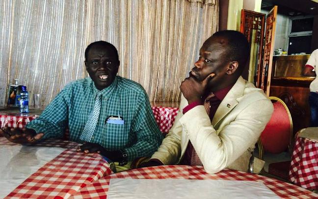 James Mawich Bichok meets the SPLA Military Spokeman, Col. Lony T. Ngundeng in Addis Ababa, Ethiopia(Photo: Nyamilepedia)