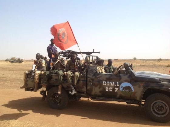 Military Pickup carrying Government forces of Jamus Battalion D-01 (Photo supply By Bior Deng)