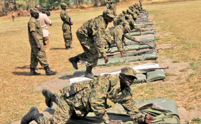 UPDF officers undergoING drills in South Sudan recently in preparation of the next phase of war (Photo: DPU)