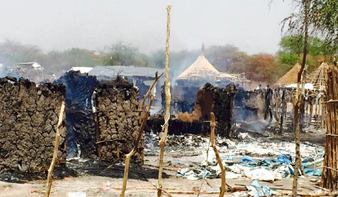 Tukuls burned down in Jiech Payam on 10th March, 2015 after a UN helicopter triggered fire and destructions(Photo: CMD/Nyamilepedia)