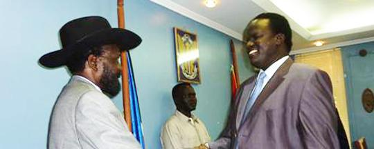 Acting governor of Unity State, Dr. Joseph Nguen Manytuil meeting Salva Kiir in Juba, South Sudan(Photo: file)