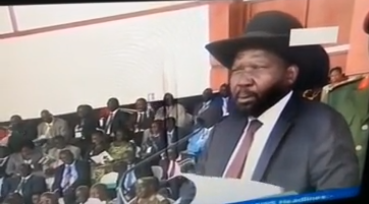 Gen. Salva Kiir Mayardit speaking at a public rally on 18th, March, 2015 at Dr. Garang Moesulom, Juba, South Sudan(Photo: Nyamilepedia)