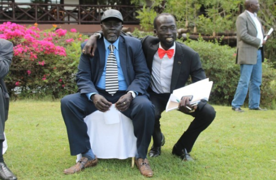 Capt Mabior Garang de Mabior with Maj. Gen. Dau Aturjong, Deputy Commander in Chief and Commander of Northern Barh el Ghazal forces, posting for a picture in Nairobi in 2014
