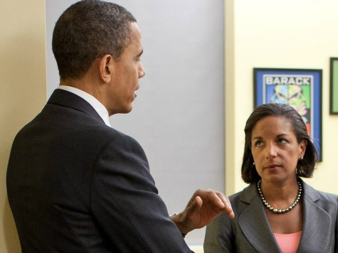 President Barack Obama meets with former President Bill Clinton and U.S. Permanent Representative to the United Nations Susan E. Rice at the U.S. Mission to the United Nations in New York City, New York, March 29, 2011. (Official White House Photo by Pete Souza)