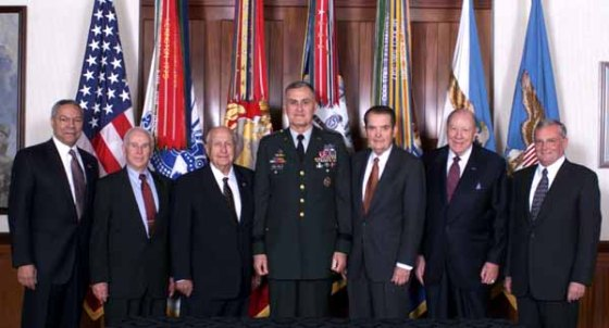 Former chairmen of the Joint Chiefs of Staff flank Army Gen. Henry H. Shelton (center) during a special conference in the Pentagon. From the left are retired Army Gen. Colin L. Powell, retired Army Gen. John W. Vessey, retired Navy Adm. Thomas H. Moorer, Shelton, retired Air Force Gen. David C. Jones, retired Navy Adm. William J. Crowe Jr. and retired Army Gen. John M. Shalikashvili.