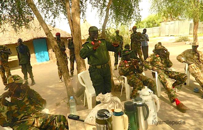 Maj. Gen. Simon Gatwech Dual, the Chief of General Staff for SPLA/SPLM-IO drinking coffee rebel held territory in Jonglei State, South Sudan(Photo: File/Nyamilepedia)
