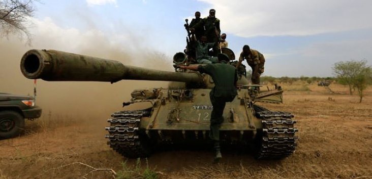 An SPLA Tank captured at the front line by the members of SPLA-IO, the Freedom Fighters(Photo: file)