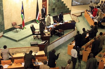 South Sudanese MPs stand during a parliamentary session in Juba on August 31, 2011(Photo supply)