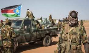 Members of SPLA [Juba] rallying during the earlier battle in Unity State Capital, Bentiu(Photo: file)