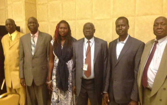 SPLM/SPLA Delegation to SSRA Conference in Omaha Nebraska, 2015. From the far lef to right: Hussein Mar Nyuot, Changson Lew Chang, Gatwech Kulang Chol, Nyaduer Girwath Joak, Chamjock Chung(Photo: Via Bol Brown)