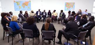 South Sudanese diaspora leaders meeting in Peace Links classroom to discuss methods to build peace in South Sudan.(Photo: USIP)