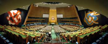 The United Nations General Assembly building. Panorama of the UNGA..