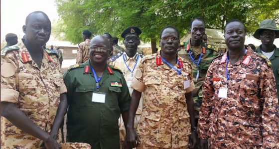 Major. Gen. Peter Gatdet with Maj.gen. Matrin Kenyi, Maj. Gen. Koang Chuol Ranley and Brig. Gen. Thoi Chany during Pagak leadership conference(Photo: Nyamilepedia)