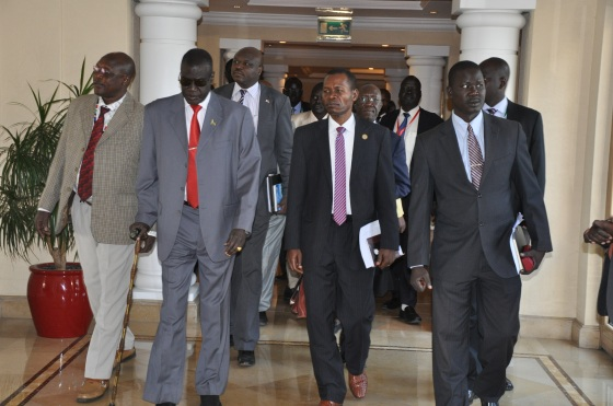 The three governors of Equatoria matching to present a position paper of Greater Equatoria in Addis Ababa(Photo: file)