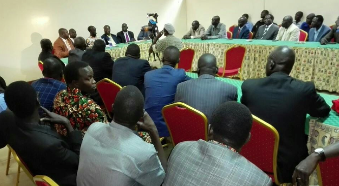 SPLM/SPLA delegation in Nairobi Kenya receives Brig. Gen. Gatwech Puoch after defecting Salva Kiir government(Photo: Nyamilepedia)
