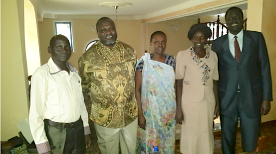Dr. Riek Machar Teny, second to right, Ambassador Ezekiel Gatkuoth, far right, Mary Nyawech Put and Madam Angelina Teny on left to Dr. Machar and James Khor on the right side of Machar...
