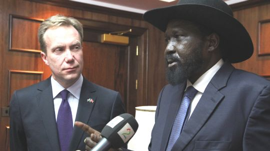 Norway's Minister of Foreign Affairs, Børge Brende, met Salva Kiir in January 2014 to see how Norway could help in South Sudan. Today Salva Kiir's government rejects TROIKA in the mediation process, also restricting their visits to the country(Photo: Astrid Sehl, MFA)