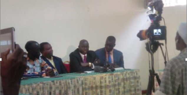 Capt. Mabior Garang de Mabior, the Chairman of National Committee for Information and Public Relation, in Nairobi this afternoon during a press release of the new defection(Photo: Nyamilepedia)