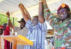 The SPLM/SPLA leaders rejoice in 20002 after the two factions accepted the call for self-determination. While Machar compromised on power-sharing, Dr. Garang compromise to Machar's self-determination....