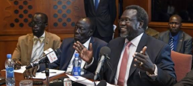 Leaders of SPLM/SPLA, Dr. Riek Machar Teny, the chairman and C-in-C with his deputy, Alfred Laod Gore and Capt. Mabior Garang de Mabior(Photo: Nyamilepedia)