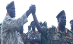 Maj. Gen Joseph Olony being welcomed back to SPLA after accepting an amnesty to re-join the government.(Photo: past file)