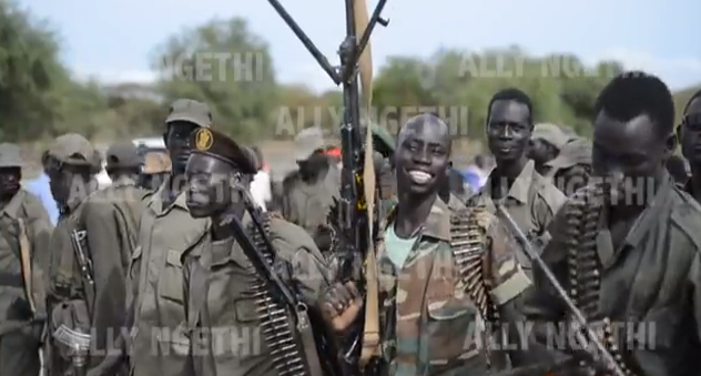 SOUTH SUDAN JOHNSON OLINY FASHODA COUNTY AND CALRO KUAL, MAYOM COUNTY JOINING SPLA in 2013. Gen. Carlo Kuol was captured alive by the SPLM-IO in Bentiu in April 2014. Today he is leading IO forces against the government(Photo: Ally Gethi)