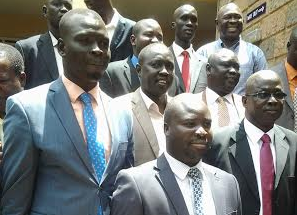 Dr. Oyet Nathaniel Pierino posts with SPLM/SPLA delegation receiving newly defected Brig. Gen. Gabriel Gatwech Puoch Mar (wearing red tie) in Nairobi, Kenya(Photo: Nyamilepedia)