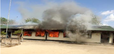 """Jonglei state's Twic East county has lost its only hospital after it burnt to the ground on 24 March 2015 (Photo courtesy: Chol E. Majok)"""