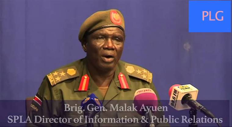 SPLA Director for Information & Public Relations Brig Gen Malak Ayuen