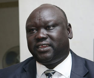 Former Minister for Education in South Sudan, Stephen Par Kuol speaking during an interview on December 23, 2013. (PHOTO: JENNIFER MUIRUR)