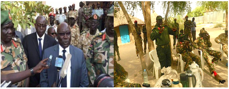 The Chiefs of Staff of SPLA-Juba(L) and SPLA-IO(R), Gen. Paul Malong Awan addressing his group and Gen. Simon Gatwech Dual briefing his group(Photo: Nyamilepedia)
